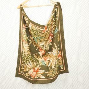 Vintage Printed Floral Poly-Cotton Bandana Scarf